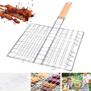 BBQ Grill Roasted Fish Grid Grilling Clamp Hamburger Meat Barbecue Mesh Net Tool