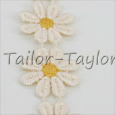 1 Yard Polyester Embroidered Lace Trim Daisy Sewing Dressmaking Ribbon Applique