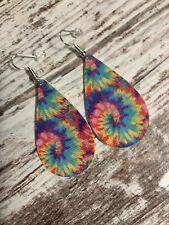 Faux Leather Earrings- Tie-Dye Pattern- Tear Drop Design