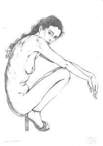 original drawing A3 33HV art Graphite sketch female nude sitting naked