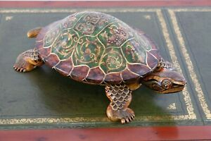 Castilian Turtle Shaped Decorative Box - Wooden with Lid - Hand Painted Koi Fish