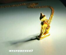 Cat Goddess Bastet Egyptian Necklace Pendant Bronze Goldplated