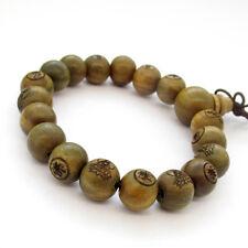 12mm Tibetan Buddhist Green Sandalwood Buddha Word Prayer Beads Mala Bracelet