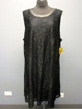 TAYLOR WOMAN Black Nylon Sleeveless Lace Back Zip Lined Dress NWT Sz 24W EE6442