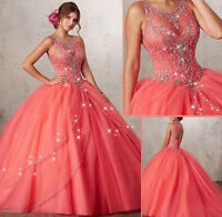 Coral Sleeveless Quinceanera Pageant Ball Gown Wedding dress Prom Party dresses