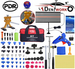 AU PDR Tools Paintless Dent Repair Car Hail Removal Puller Lifter Kit LED Board