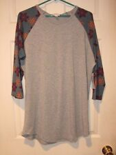 "woman's LULAROE top--NWT---""Randi"" style--size XL--gray with floral sleeves"