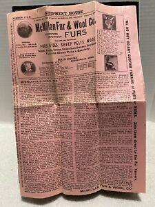 TRAPPING: McMILLIAN FUR & WOOL CO. FEB.1910 FUR BUYERS PRICE SHEET