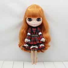 Blythe Doll / 1/6 Bjd Red Plaid Long Sleeves Dress