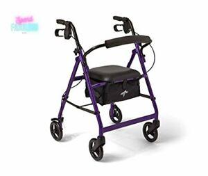 Rollator Walker with Seat Aluminum Folding Mobility Rolling Walking Aid Purple
