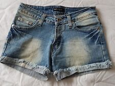 Miss-apt denim hot-pants shorts, size 8, yellow crown embroidery on rear