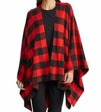 NWT Ralph Lauren Black/Red BUFFALO Plaid Open PONCHO Blanket Sweater Wrap L/XL
