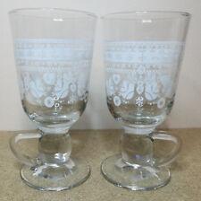 2x Christmas tall latte glass mug white deco birds 6 Inches Tall