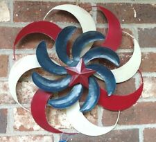 Windmill Hanging Patriotic Decor True Living Outdoors 3 Layers Metal Swirls New