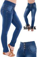 Jeans High Waist Waisted Skinny Denim Women New Ladies Blue Size 6 8 10 12 14