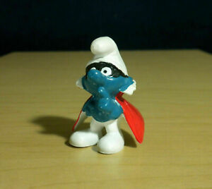 Smurfs 20008 Spy Smurf Mask Bandit Rare Vintage Figure PVC Toy Figurine Peyo 80s