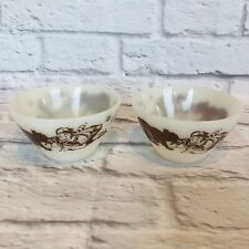 New listing Set of 2 Vintage Davy Crockett Fire King Bowls Brown Graphics Oven Ware M2