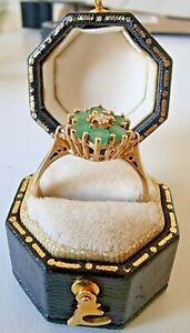 Vintage (1980) 18ct Yellow Gold, not 9ct, Real Emerald & Diamond Ring ~ Size Q