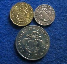 1977 Republic of Seychelles 10 & 25 Cents & 1 Rupee - BU
