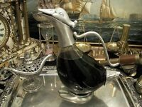Duck Decanter Tin Plated Glass Water Wine Jug Carafe New Gift Vintage