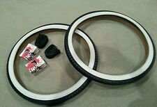 "2TUBES,2 DURO BEACH CRUISER BICYCLE TIRES DIAMOND PATTERN 26""X2.125""WHITEWALLS"