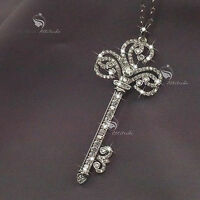 18k white gold gp made with SWAROVSKI crystal key pendant fashion long necklace