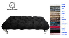 NEW PADDED HALLWAY END OF BED BENCH DFS STYLE CRUSHED VELVET STOOL 15 COLOURS
