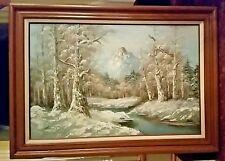 G. Whitman signed original listed artist large winter landscape painting EC!