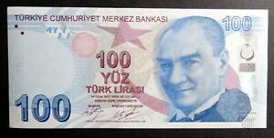 TURKEY 2009 : 100 Turk Lirasi Bank Note. Current Tender, Serial # at random