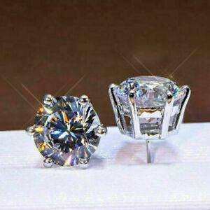 4Ct Round Cut D/VVS1 Diamond Push Solitaire Stud Earrings 14K White Gold Finish