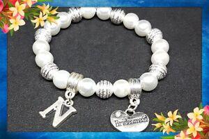 Personalised Pearl Bracelet Wedding, Bridesmaid, Flower Girl Thank you Present