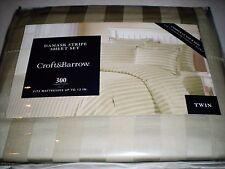 Croft & Barrow Damask Stripe Twin Sheet 3 Piece Set 300 TC Sage Green NWT