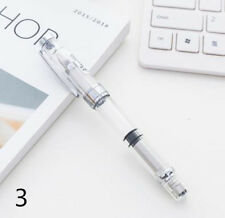 WING SUNG 3008 Transparent Silver Color Clip Piston Fountain Pen Fine Nib 0.5mm