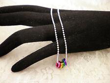 Handmade LGBT Awareness Gay Pride Rainbow  Necklace Silver Ball Chain/Jewelry