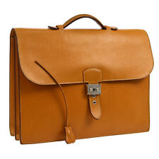 Auth HERMES Sac A Depeche 38 Briefcase Hand Bag BR Veau Greine Couchevel AK13830