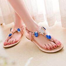 Women Bohemia Flat Casual Thong Sandals Summer Beach Rhinestone Shoes Flip Flops