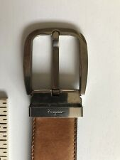 Salvatore ferragamo mens Leather Belt Camel Reversible Black Made In Italy 30-32