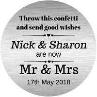 PERSONALISED, WEDDING CONFETTI POEM STICKERS,GLOSSY  SEALS LABELS,SILVER