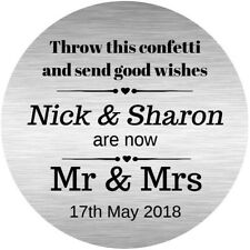 Personalised Wedding Confetti Poem Stickers Glossy Seals Labels Silver