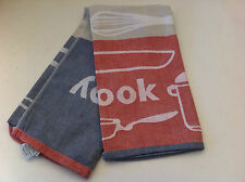 Mix Cook Serve Blue and Red 100% Egyptian Cotton Set of 3 Tea Towels - 50 x 70cm