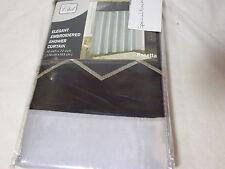 NEW CHD Rosetta Elegrant Embroidered Fabric Shower Curtain Gray & Black 70x72
