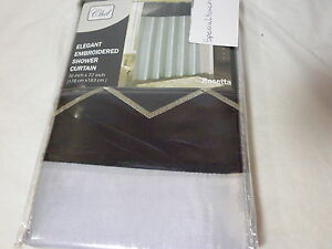 NEW CHD Rosetta Elegrant Embroidered Fabric Shower Curtain Gray & Black 70x72
