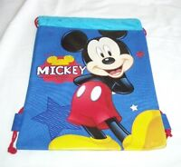 Blue Mickey Mouse Drawstring Backpack Disney Sling Tote School Kids Gym Bag :)