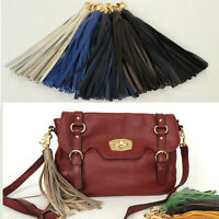 Women bag accessory genuine leather tassel charm Key chain ring Handbag ornam398
