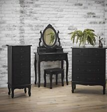 LUXURY ANTOINETTE FRENCH INSPIRED FURNITURE DRESSING TABLE CHEST DRAWERS - BLACK