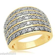 Gold over Sterling Silver 5 Row Band 1.00 CTTW Diamond Ring Size 7