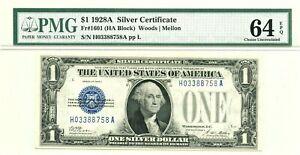 1928A $1 Silver Certificate, Fr#1601 (HA Block), PMG Choice Uncirculated 64 EPQ