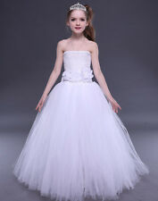 Girls Tutu Dress Tulle Wedding Flower Girl Princess Dresses Kids Birthday Party
