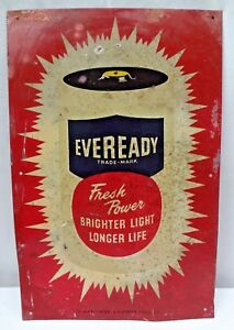 Vintage Eveready Battery Advertise Tin Sign Graphics Depicting Battery Colle# 5