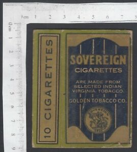 Empty packet Sovereign Cigarettes by Golden Tobacco Co Vileparle. Bombay, India